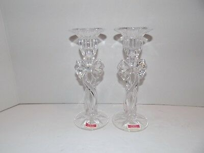 """Pair of Marquis by Waterford Crystal Bow Decoration Candle Stick Holders 7"""""""