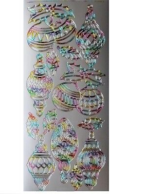 SILVER & RAINBOW BAUBLES Peel Off Stickers Christmas Holly Card Making