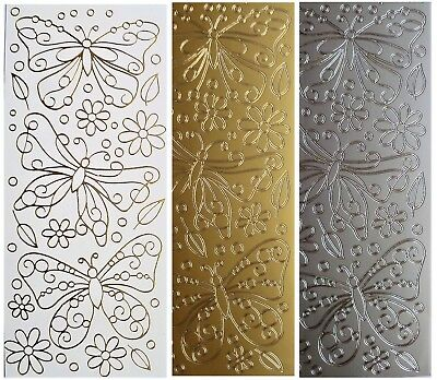 OUTLINE BUTTERFLIES & FLOWERS Peel Off Stickers Leaves Dots Gold or Silver