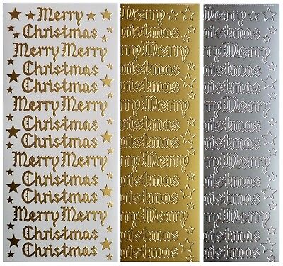 ENGLISH MERRY CHRISTMAS Peel Off Stickers Stars Old Style Script Gold or Silver
