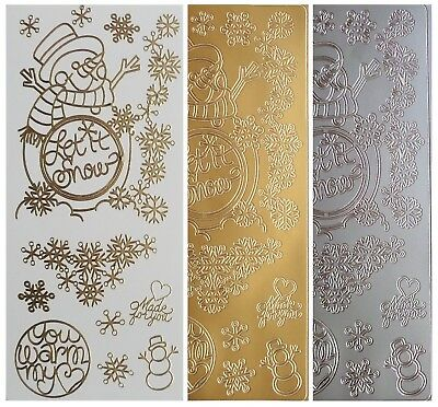 LET IT SNOW SNOWMAN Peel Off Stickers Snowflakes Christmas Winter Gold or Silver