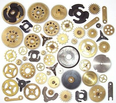 Lot of 40 vintage assorted clock small and large brass gears Steampunk parts N3