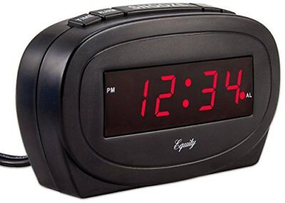 Electric Alarm Clock Digital LED Display With Battery Back Up Snooze Black New