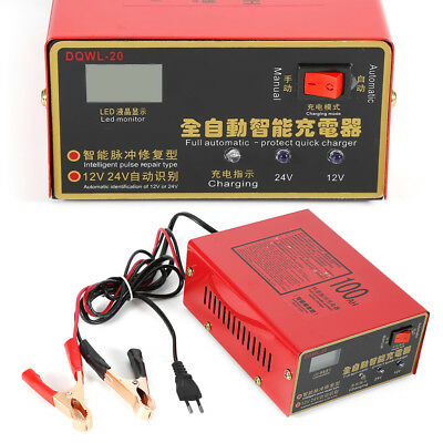 Automatic Intelligent Battery Charger Fit Car Motorcycle 12V/24V Pulse Repair TN