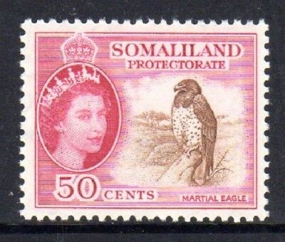 1953-58 SOMALILAND PROTECTORATE 50c martial eagle SG143 mint very light hinged