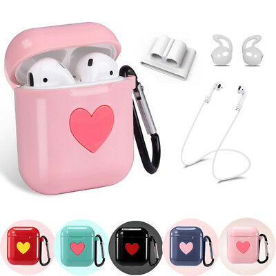 For Apple AirPods Accessories Silicone Cover Case Kit With Anti Lost Strap Hook