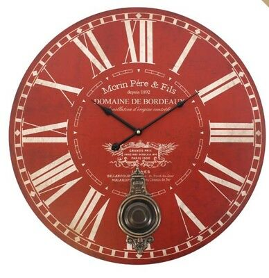 Pendulum Wall Clock Red Cream Vintage French Style Wooden Brass Roman Numerals