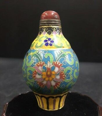 Rare Chinese Cloisonne Hand-Paint Flowers Lantern shape Classical Snuff Bottle