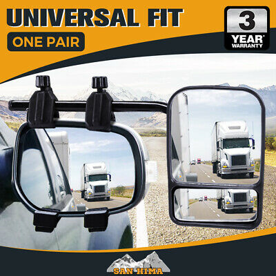 2 x TOWING MIRRORS PAIR HEAVY DUTY MULTI FIT CLAMP ON TOWING CARAVAN 4X4 TRAILE