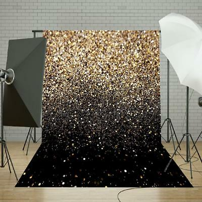 7x5FT Glitter Black Gold Dots Vinyl Backdrop Photography Background Studio Props