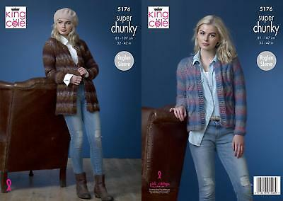 6d518faf0f95 KING COLE 4741 Knitting Pattern Womens Raglan Sweater and Jacket in ...