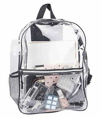 Large Clear Backpack Pvc Plastic Heavy Duty Bag School Office Travel Security