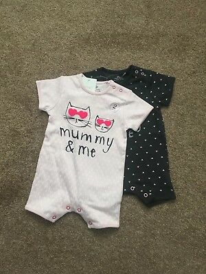 Next x2 Baby Girl Mummy & Daddy Rompers 0-3 Months
