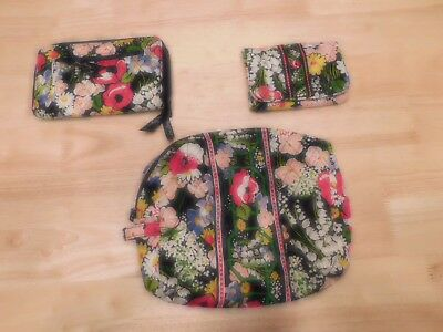 LOT of 3 Vera Bradley New W/O tags Poppy Fields cosmetic bag, wallet, clutch