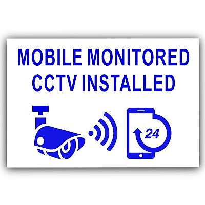 6 x Mobile Monitored CCTV Installed-External Stickers-Blue-Warning,Security,Home