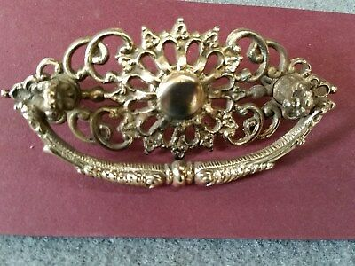 Antique Victorian solid brass drawer pull - single pull - Original