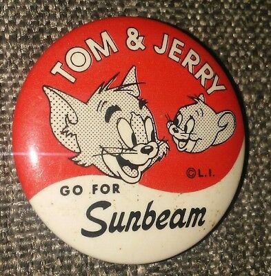 Vintage 1950's Tom & Jerry Sunbeam Bread Collectible Button Pin Rare A