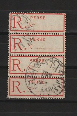 Persia 1998-1911 registration-label used as 1 ch stamp (  strip of 4 stamps )