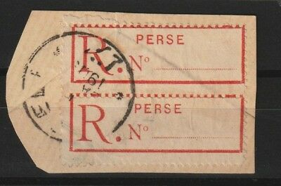Persia 1998-1911 registration-label used as 1 ch stamp (  strip of 2 stamps )
