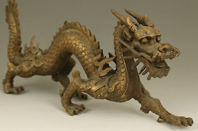 big rare Chinese Old Bronze copper Hand Casting dragon Statue Figure collectable