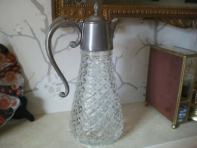 Art Nouveau Claret Jug Pewter Top Fine Quality