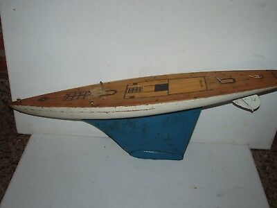 Antique Vintage Wood Wooden Toy Sailboat Model Boat Hull Part Marked Keystone