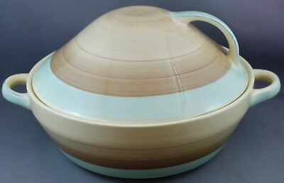 """SUSIE COOPER Art Deco COVERED 8"""" VEGETABLE BOWL WITH SERVING DISH- L 920"""