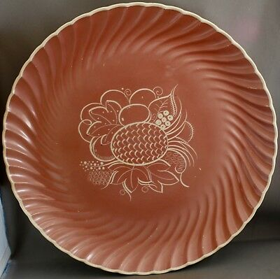 Susie Cooper Large Serving Plate-Pink Swirl Leaf Design. L 919
