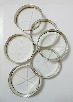 Set of 6 Webster Sterling Silver Coasters Etched Glass