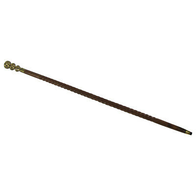 Vintage Solid Brass Handle Victorian Twist Wood Walking Stick Cane Antique Canes