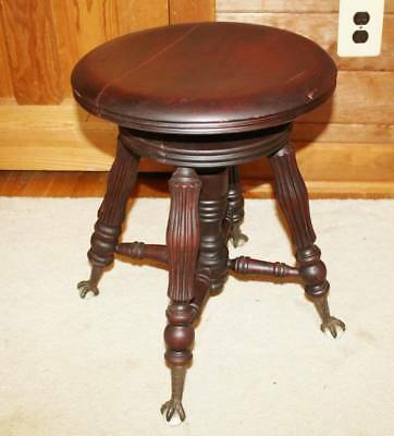 """""""original"""" Antique / Vintage Glass Ball Claws Feet Hard Wood Piano Stool Bench"""