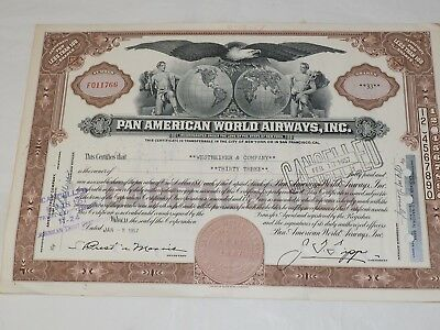 1957 PAN AMERICAN STOCK CERTIFICATE Brown