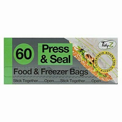 60 Resealable Food and Freezer Bags Pouches Plastic Extra Strong 20.5cm x 17cm.
