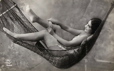 Racy French RPPC Real Photo Postcard Cute Jazz-Age Flapper Undressing in Hammock