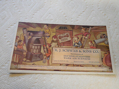 Milwaukee R.J. Schwab & Sons Gilt Edge Furnace Vintage Advertising Ink Blotter
