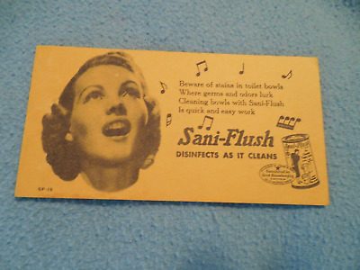 Blotter Sani Flush In The Yellow Can Vintage Advertising Ink
