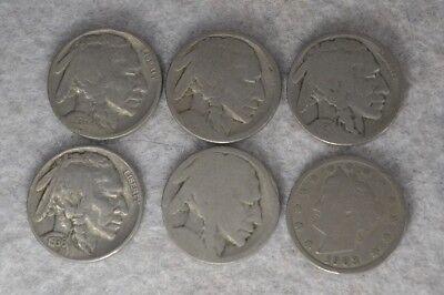 Indian Head Buffalo Nickels 1930, 1936 Liberty V nickel 1903 coin lot 6 pc