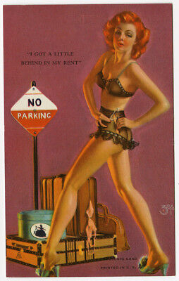 Vintage 1940s Zoe Mozert Pin-Up Mutoscope Card I got A Little Behind On My Rent