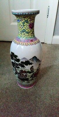 Antique Chinese Hand Painted Vase Stamped