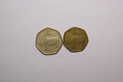 2 DIFFERENT 2 PULA COINS w/ RHINO from BOTSWANA DATING 1994 & 2004 (2 TYPES)