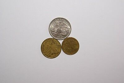 3 COINS from ETHIOPIA - 5, 10 & 50 CENTS (SAME CLEAR, BUT UNKNOWN DATES)