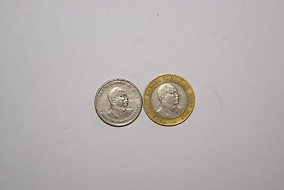 2 DIFFERENT COINS from KENYA - 50 CENTS & BI-METAL 10 SHILLING (BOTH 1994)