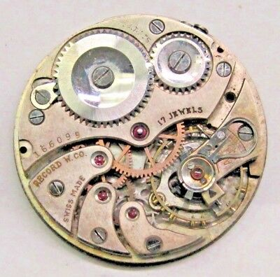 Antique Record W CO. Pocket Watch Movement 17- Jewels- 39 mm in size.. 4- Adj's*