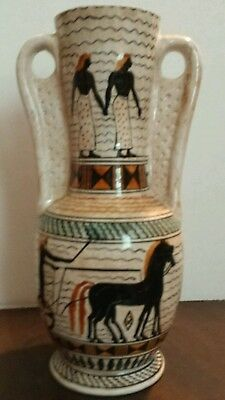 "GREEK Art Pottery 10"" Handled Vase Signed Hand Painted -Horse & Chariot -Vintage"