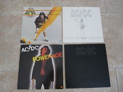 AC/DC Lot of 4 LP Album Records Powerage High Voltage Back In Black Flick Switch