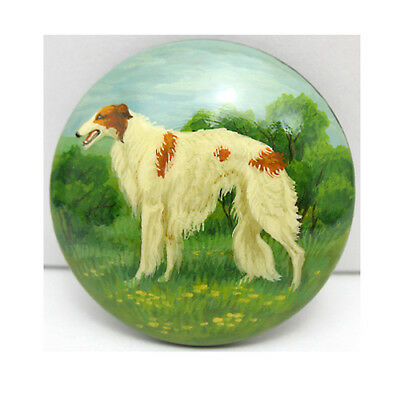Russian Wolfhound Borzoi Hand Painted Lacquer Brooch Pin 137