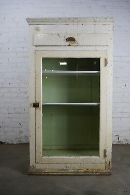 Antique Vintage Built-In Cabinet 1920's Glass Door #2