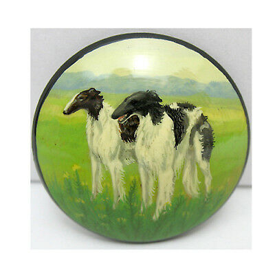Russian Wolfhound Borzoi Hand Painted Lacquer Brooch Pin