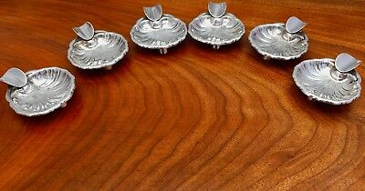 Mexican Six Sterling Silver Footed Shell-Shaped Personal Ashtrays, Plat Mex S.A.