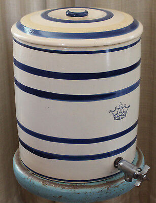 Robinson Ransbottom Crock Water Cooler Pottery Blue Stripe Crown 4 Gallon Lid